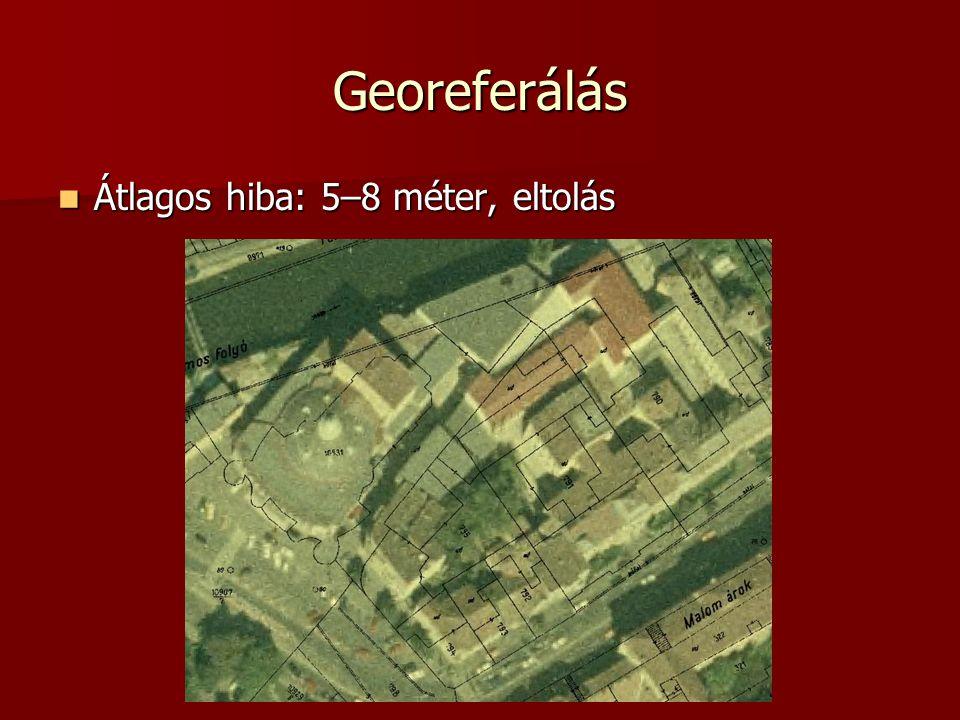 Georeferálás Átlagos hiba: 5–8 méter, eltolás