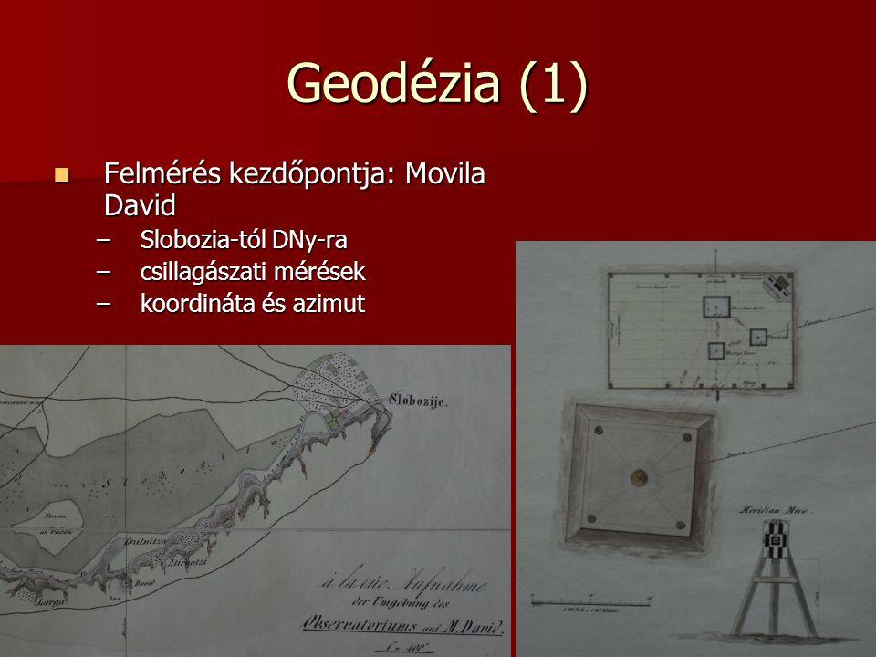 Geodézia (1) Felmérés kezdőpontja: Movila David Slobozia-tól DNy-ra