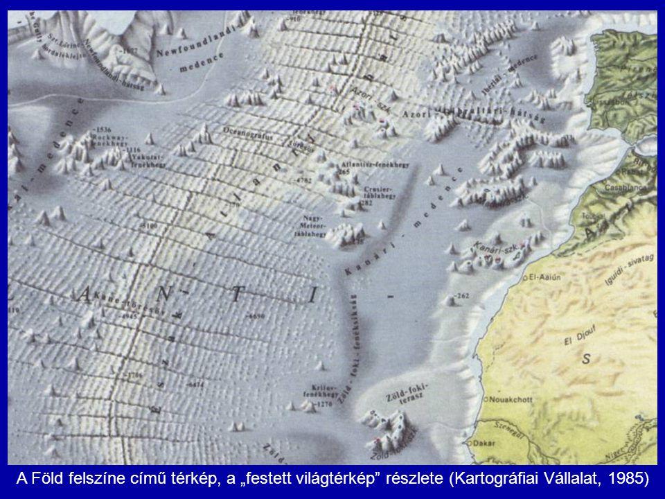 """A Föld felszíne című térkép, a """"festett világtérkép részlete (Kartográfiai Vállalat, 1985)"""
