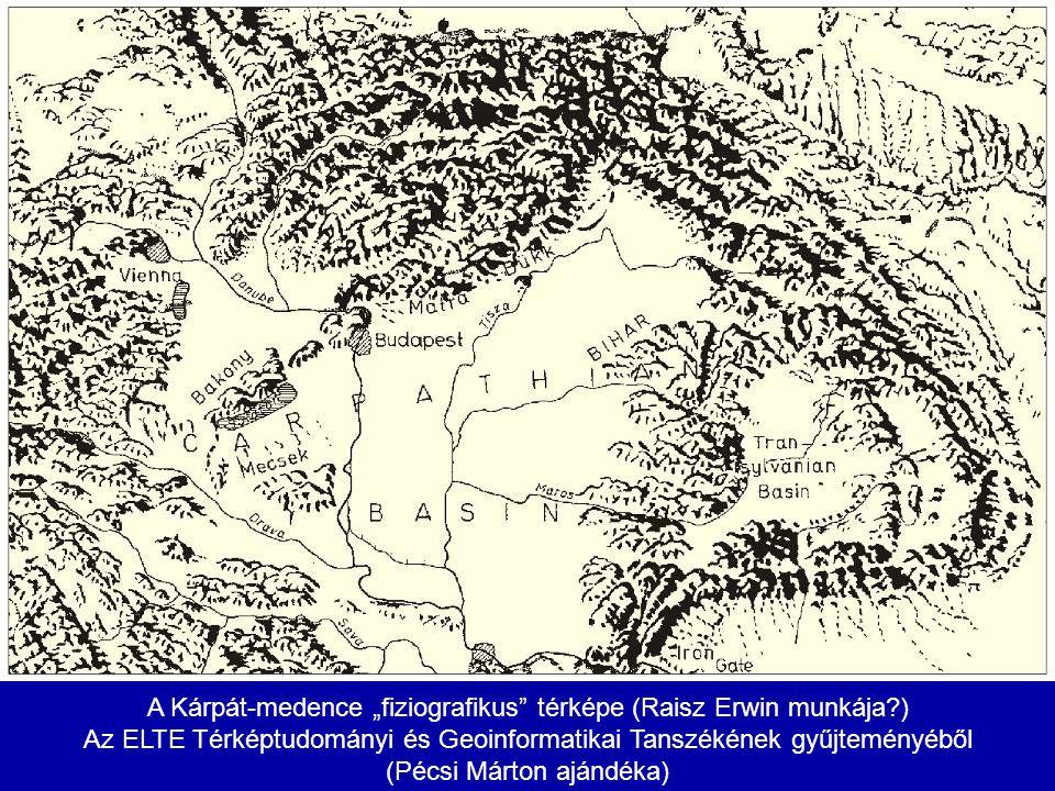"""A Kárpát-medence """"fiziografikus térképe (Raisz Erwin munkája )"""