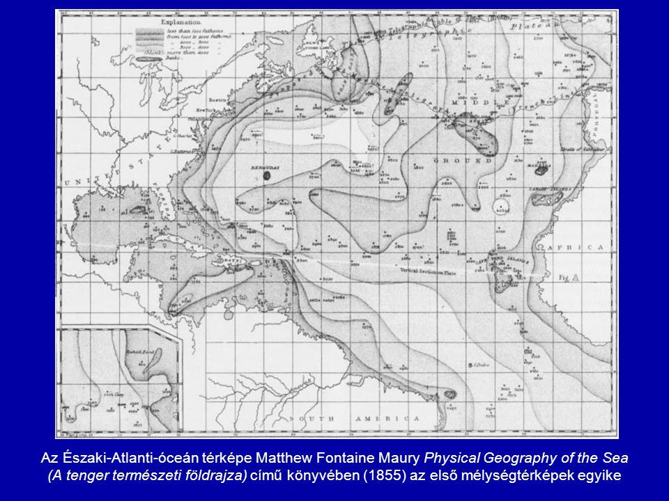 Az Északi-Atlanti-óceán térképe Matthew Fontaine Maury Physical Geography of the Sea