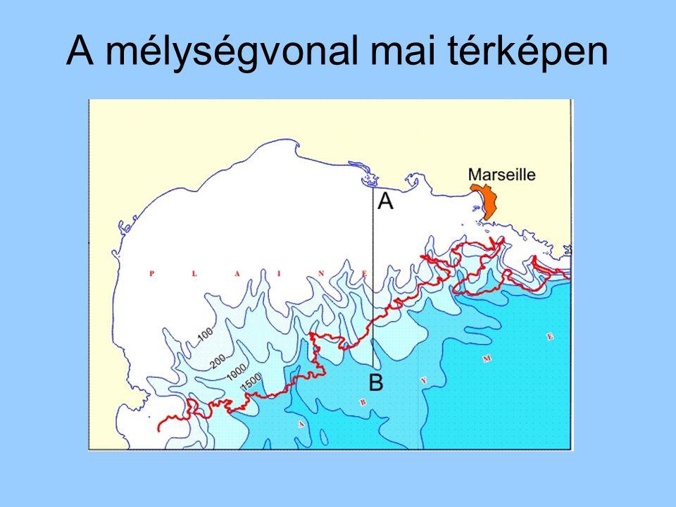 A mélységvonal mai térképen