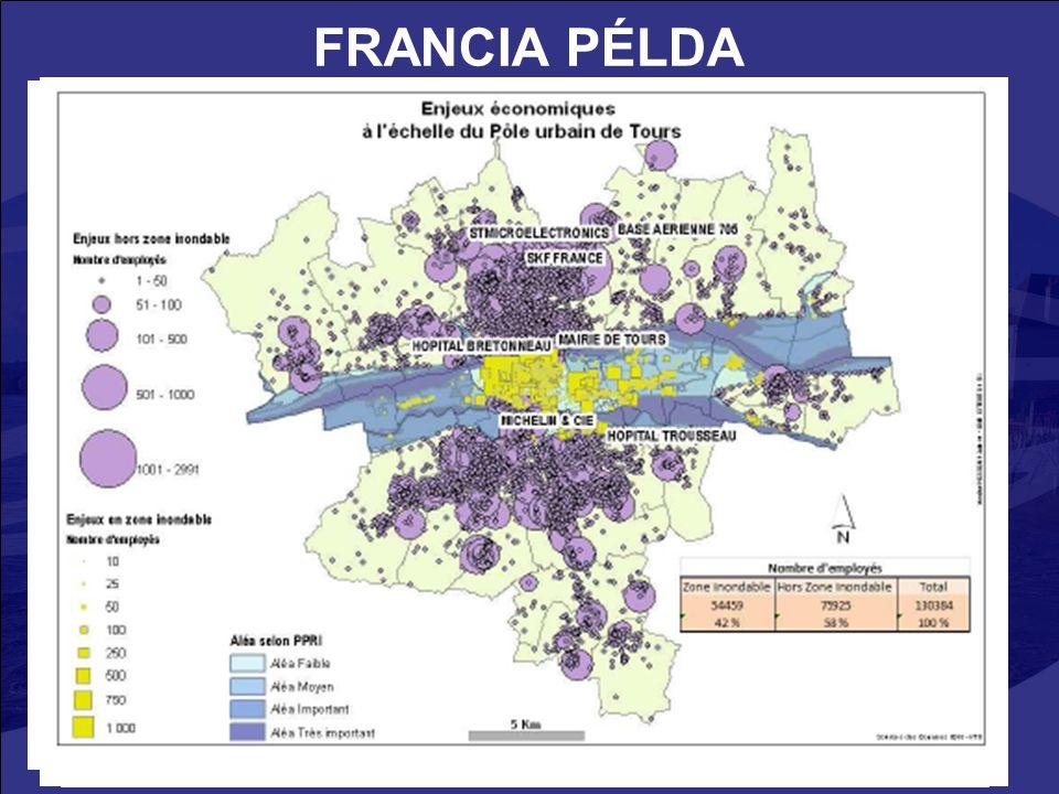 FRANCIA PÉLDA Université de Tours, CEPRI (Centre Européen de Prévention du Risque d'Inondation) : társadalmi-gazdasági károk a Loire medencében.