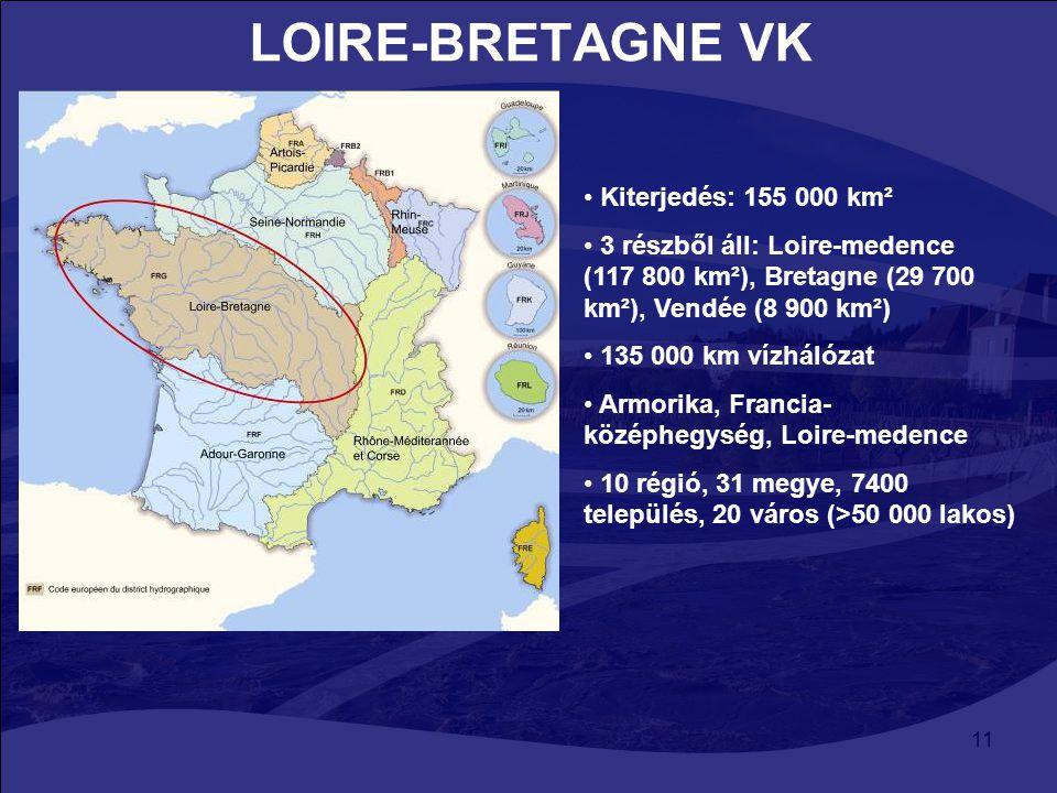 LOIRE-BRETAGNE VK Kiterjedés: 155 000 km²