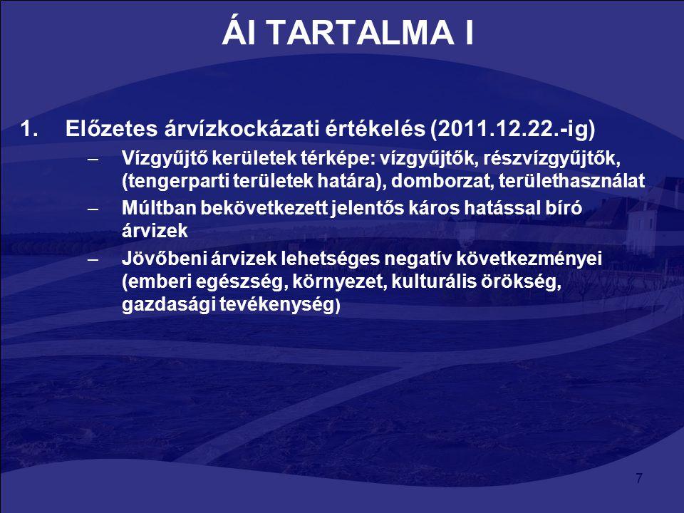 ÁI TARTALMA I Előzetes árvízkockázati értékelés (2011.12.22.-ig)
