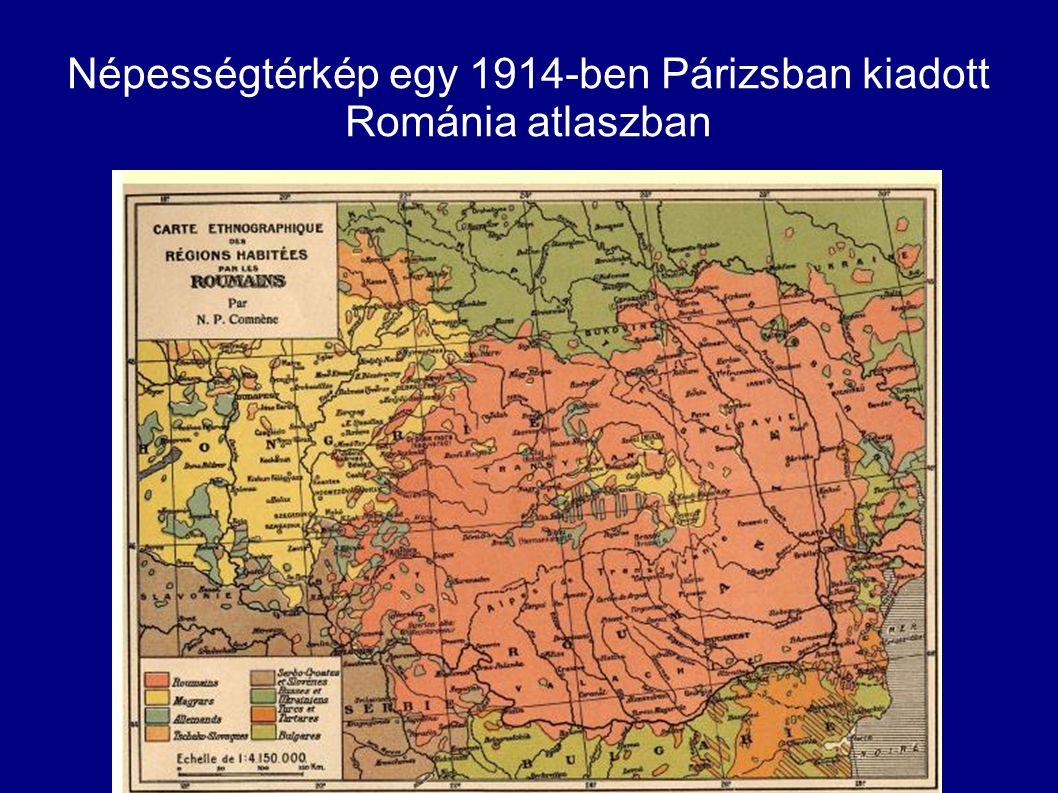 Népességtérkép egy 1914-ben Párizsban kiadott Románia atlaszban