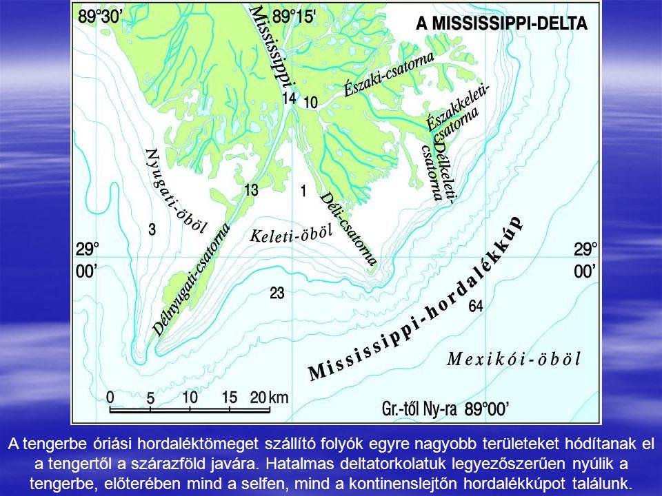 A tengerbe óriási hordaléktömeget szállító folyók egyre nagyobb területeket hódítanak el a tengertől a szárazföld javára.