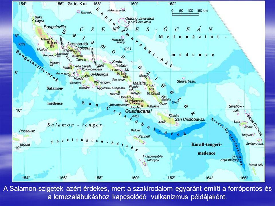 A Salamon-szigetek azért érdekes, mert a szakirodalom egyaránt említi a forrópontos és a lemezalábukáshoz kapcsolódó vulkanizmus példájaként.