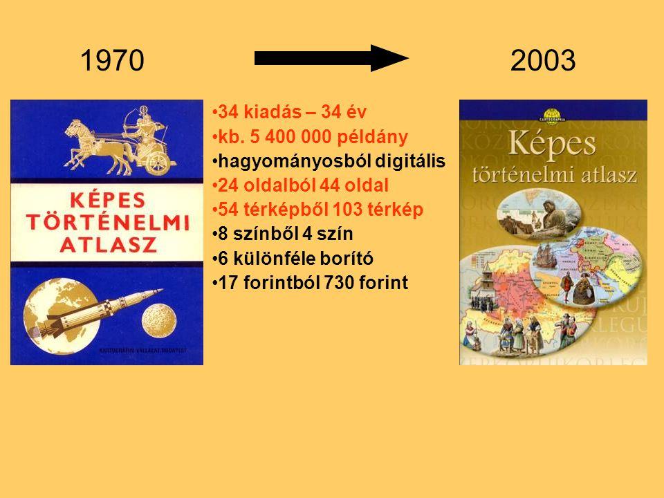 1970 2003. 34 kiadás – 34 év. kb. 5 400 000 példány. hagyományosból digitális. 24 oldalból 44 oldal.