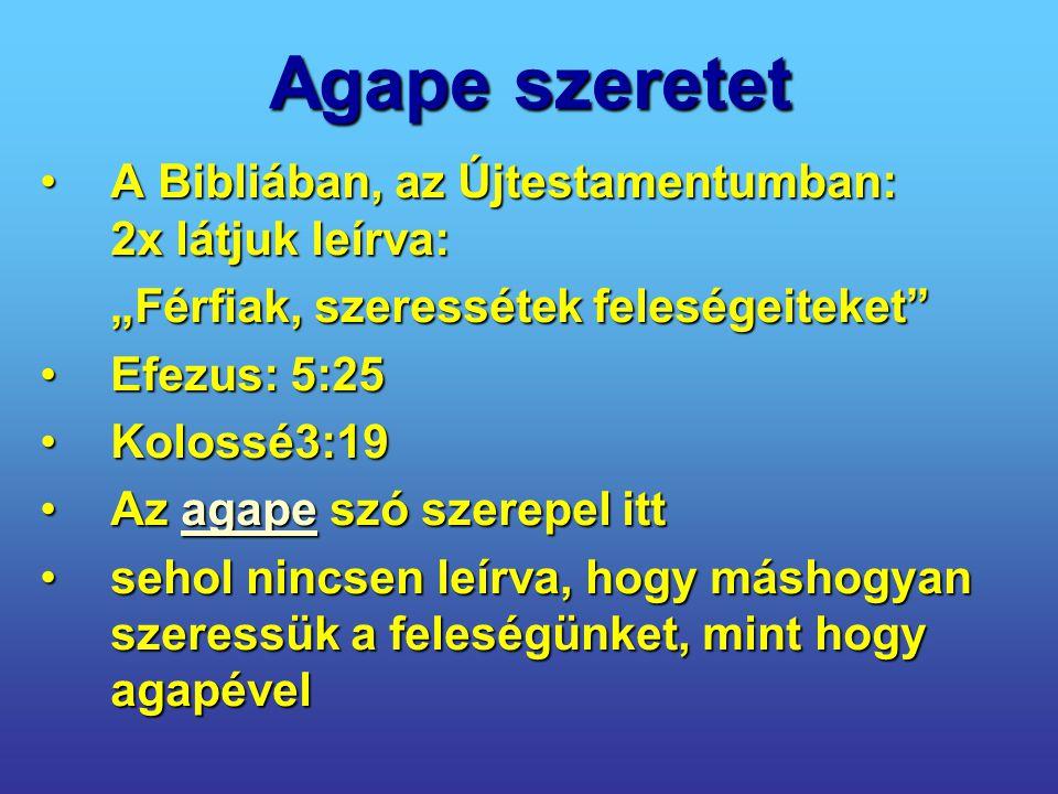 Agape szeretet A Bibliában, az Újtestamentumban: 2x látjuk leírva: