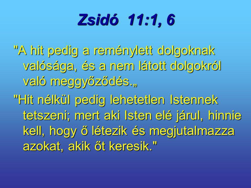 """Zsidó 11:1, 6 A hit pedig a reménylett dolgoknak valósága, és a nem látott dolgokról való meggyőződés."""""""