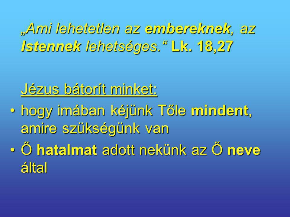 """""""Ami lehetetlen az embereknek, az Istennek lehetséges. Lk. 18,27"""