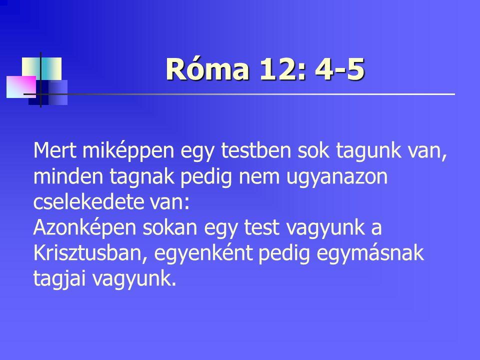 Róma 12: 4-5 Mert miképpen egy testben sok tagunk van, minden tagnak pedig nem ugyanazon cselekedete van: