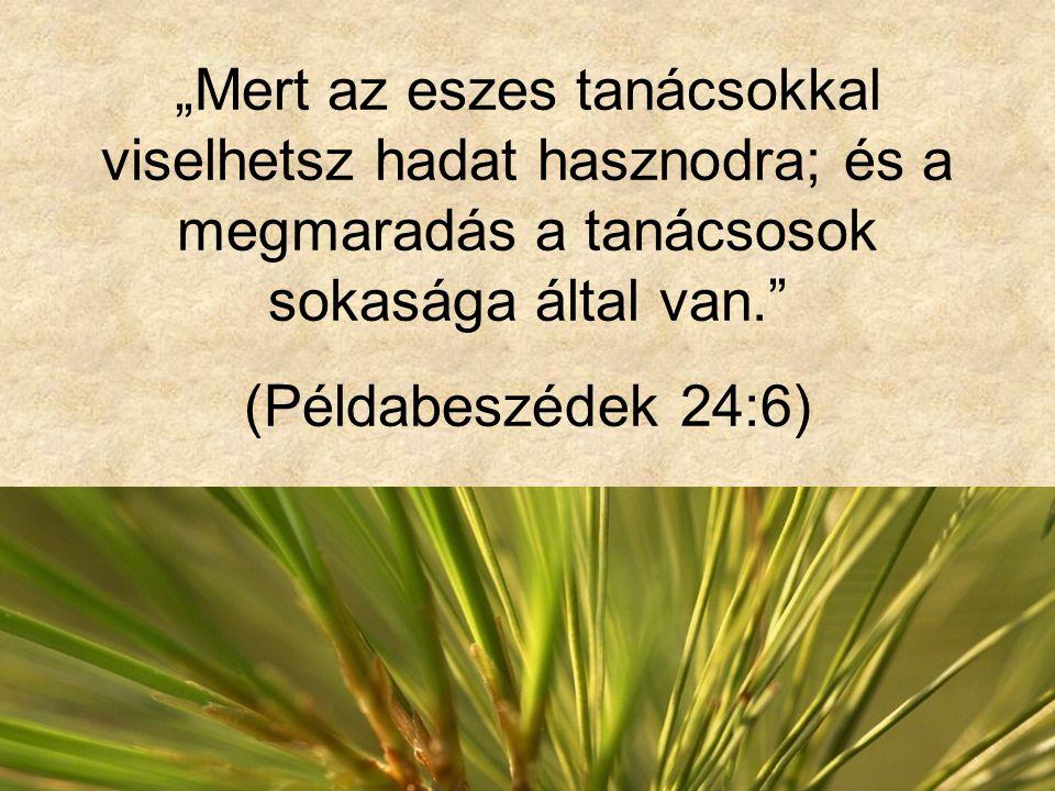 """""""Mert az eszes tanácsokkal viselhetsz hadat hasznodra; és a megmaradás a tanácsosok sokasága által van. (Példabeszédek 24:6)"""