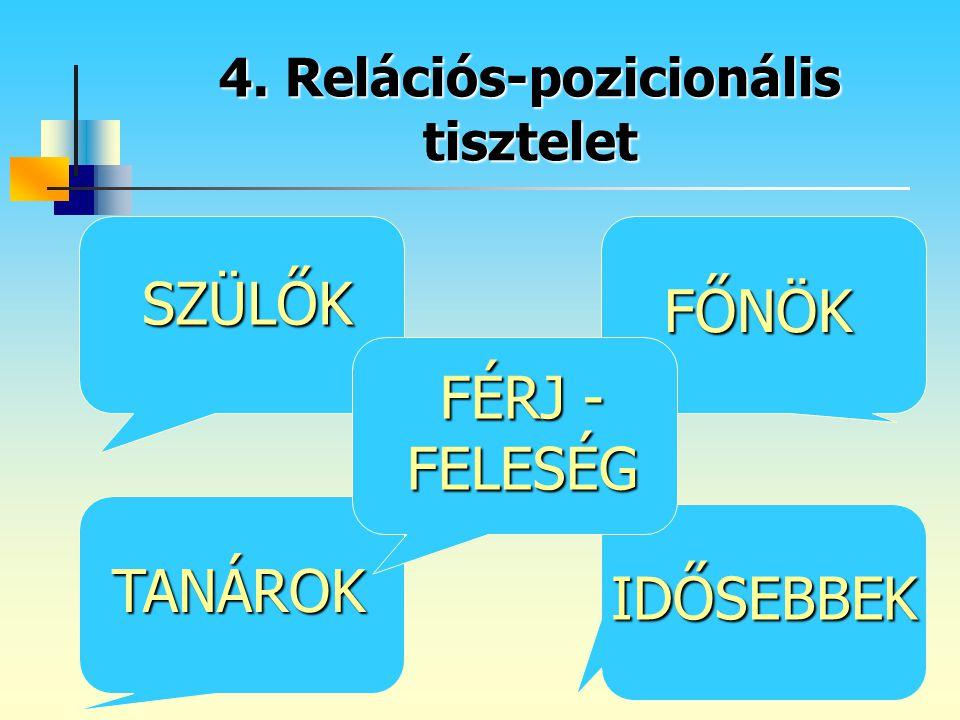 4. Relációs-pozicionális tisztelet