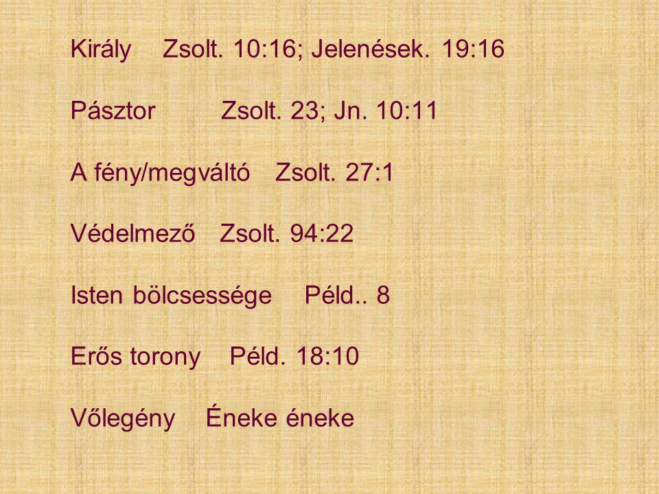 Király Zsolt. 10:16; Jelenések. 19:16 Pásztor Zsolt. 23; Jn