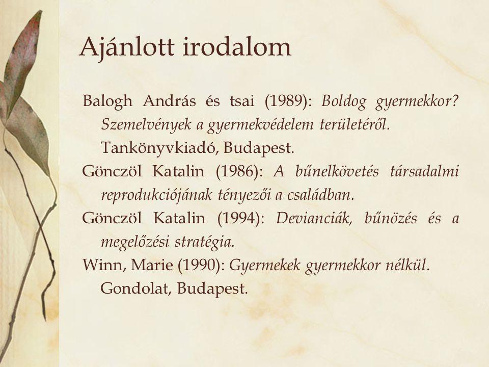 Ajánlott irodalom Balogh András és tsai (1989): Boldog gyermekkor Szemelvények a gyermekvédelem területéről.