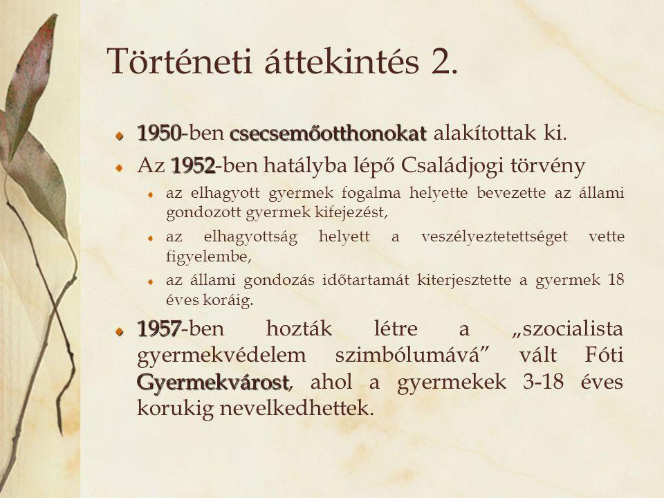 Történeti áttekintés 2. 1950-ben csecsemőotthonokat alakítottak ki.