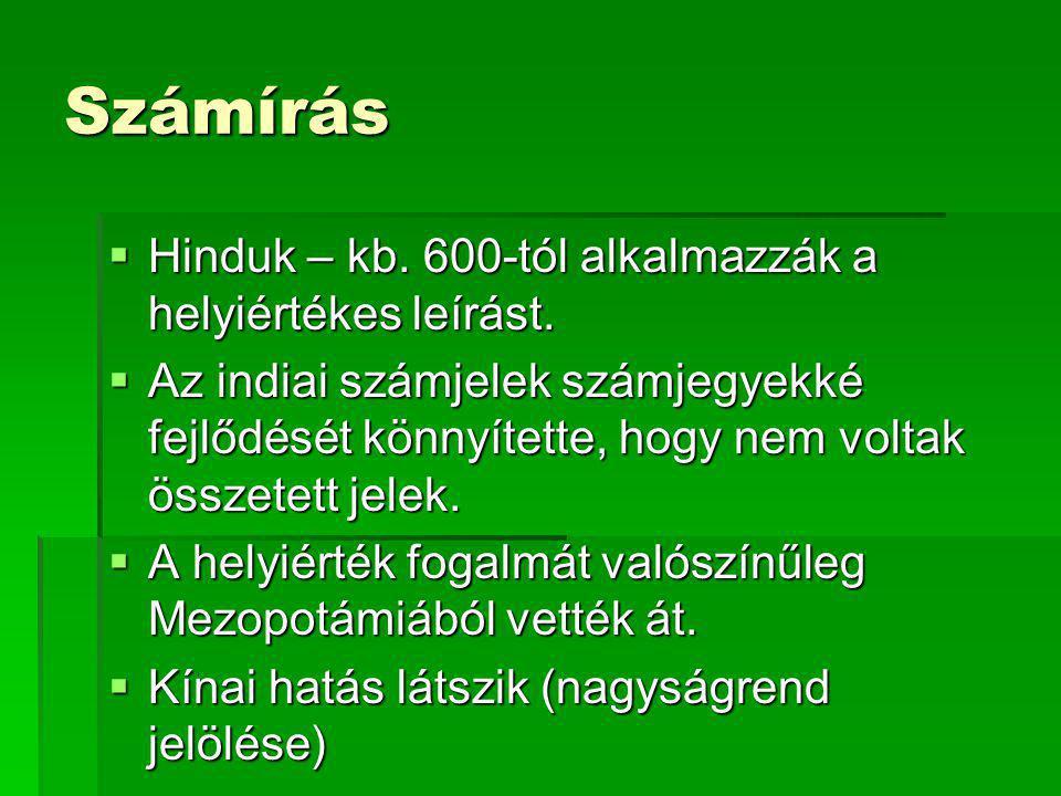 Számírás Hinduk – kb. 600-tól alkalmazzák a helyiértékes leírást.