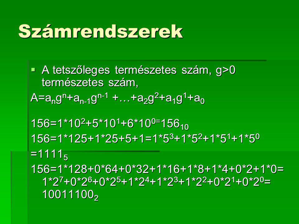 Számrendszerek A tetszőleges természetes szám, g>0 természetes szám, A=angn+an-1gn-1 +…+a2g2+a1g1+a0.