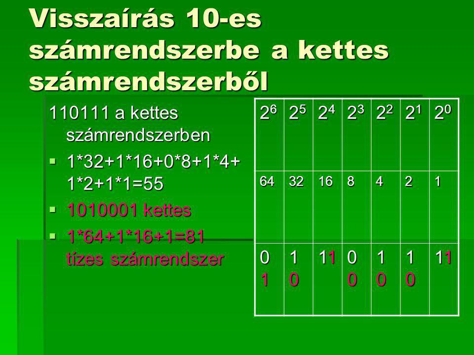 Visszaírás 10-es számrendszerbe a kettes számrendszerből