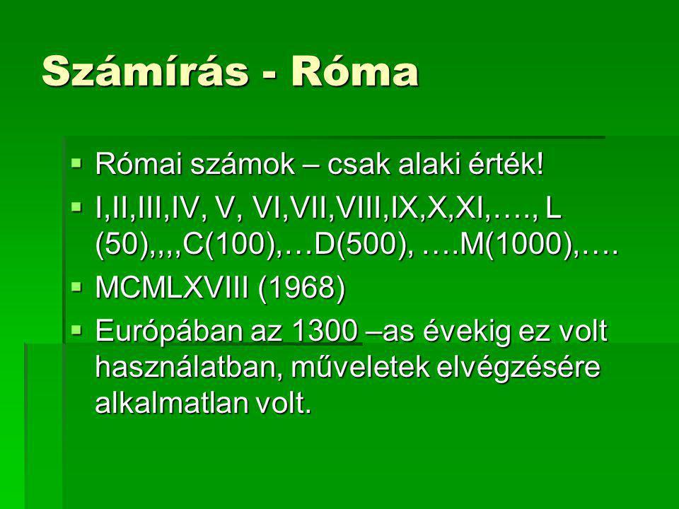 Számírás - Róma Római számok – csak alaki érték!