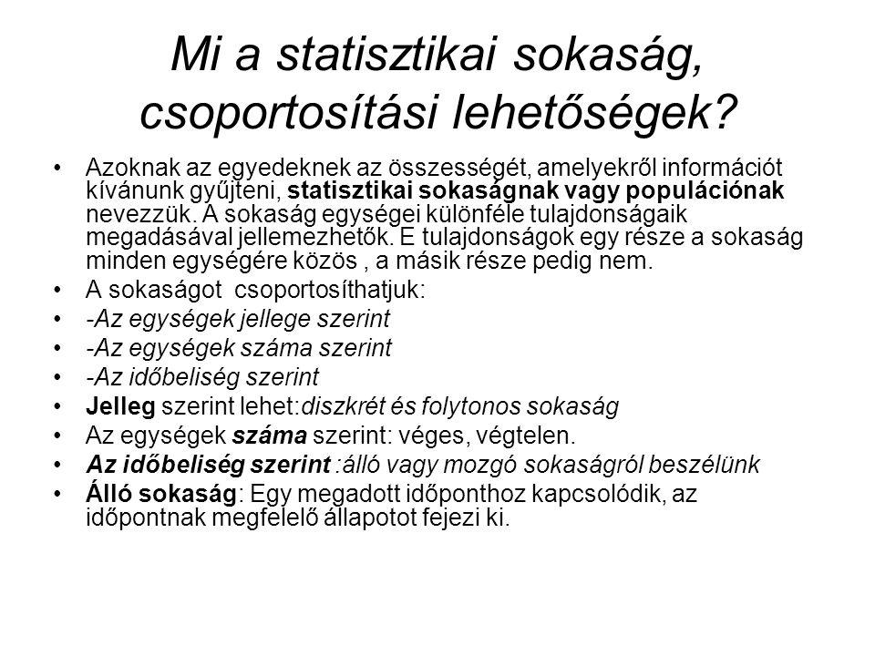 Mi a statisztikai sokaság, csoportosítási lehetőségek
