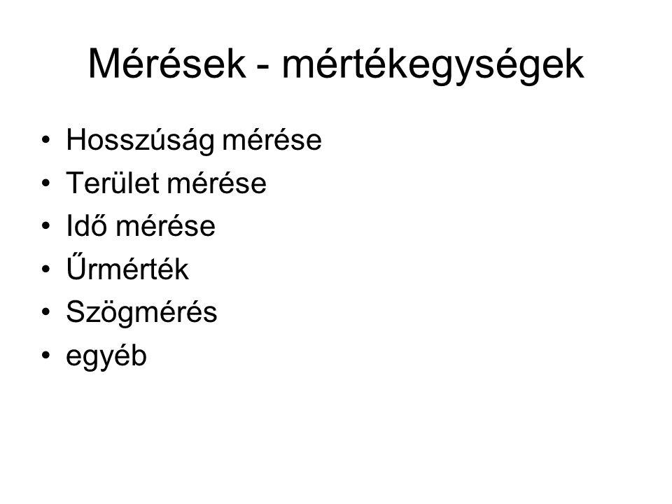 Mérések - mértékegységek