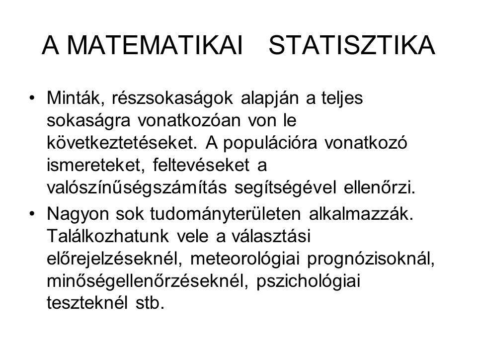 A MATEMATIKAI STATISZTIKA