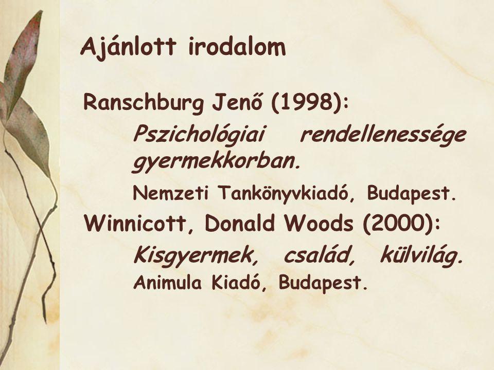 Ajánlott irodalom Ranschburg Jenő (1998):