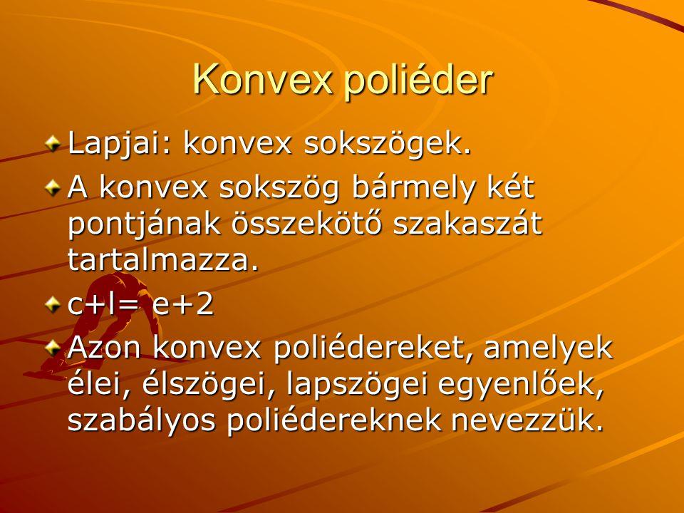 Konvex poliéder Lapjai: konvex sokszögek.