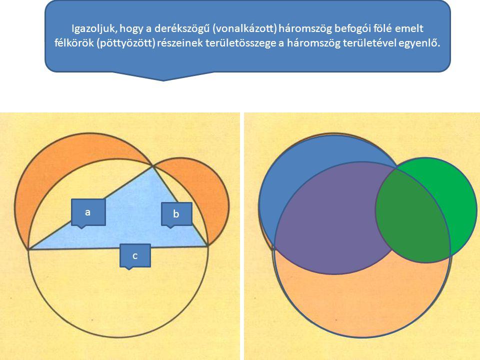 Igazoljuk, hogy a derékszögű (vonalkázott) háromszög befogói fölé emelt félkörök (pöttyözött) részeinek területösszege a háromszög területével egyenlő.