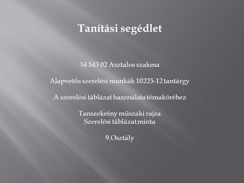 Tanítási segédlet 34 543 02 Asztalos szakma