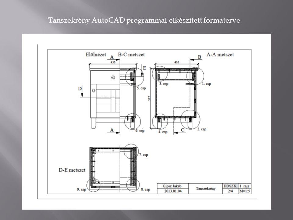 Tanszekrény AutoCAD programmal elkészített formaterve