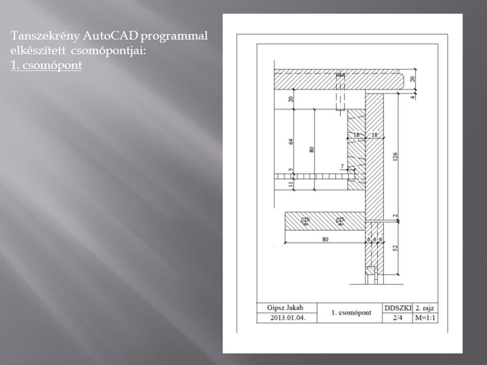 Tanszekrény AutoCAD programmal elkészített csomópontjai: