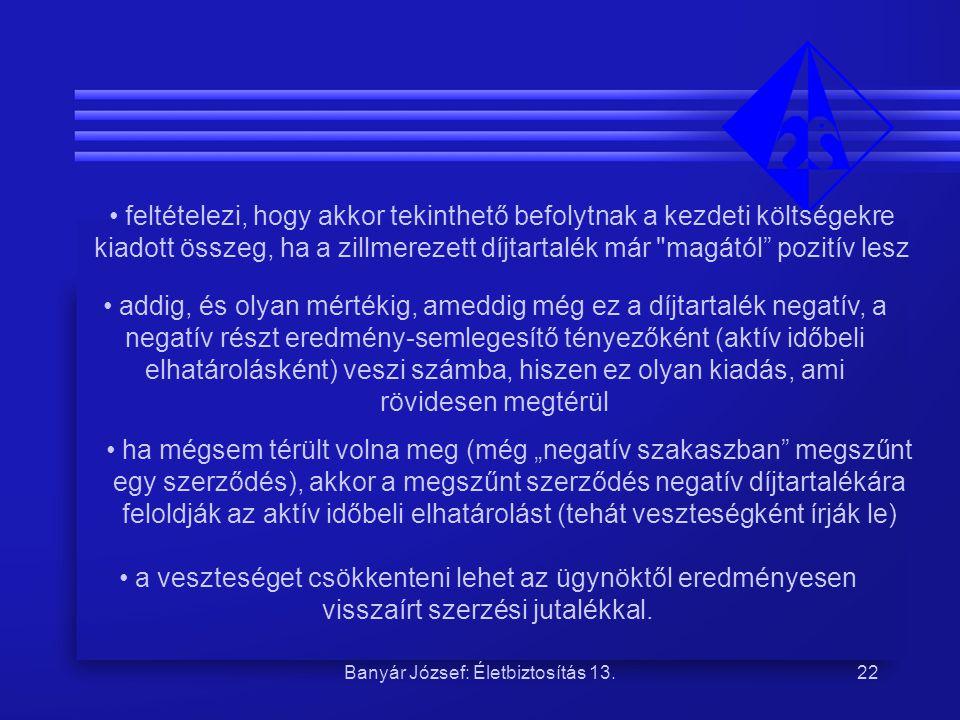 Banyár József: Életbiztosítás 13.