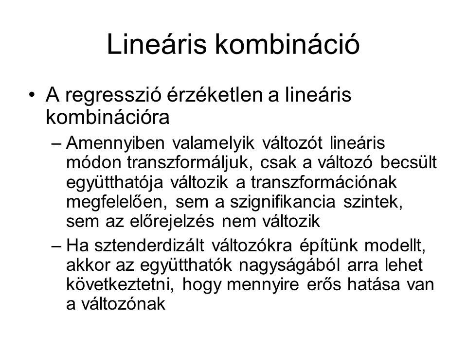 Lineáris kombináció A regresszió érzéketlen a lineáris kombinációra