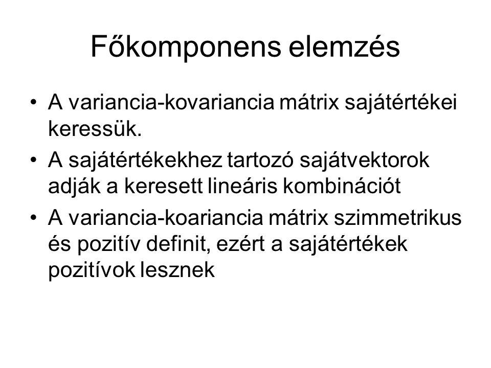 Főkomponens elemzés A variancia-kovariancia mátrix sajátértékei keressük.