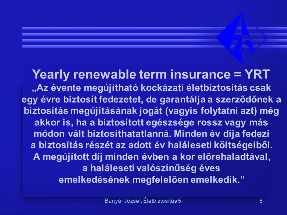Yearly renewable term insurance = YRT