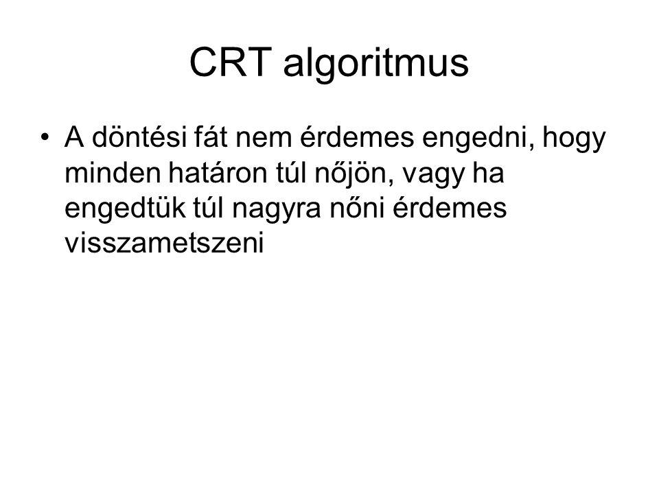 CRT algoritmus A döntési fát nem érdemes engedni, hogy minden határon túl nőjön, vagy ha engedtük túl nagyra nőni érdemes visszametszeni.