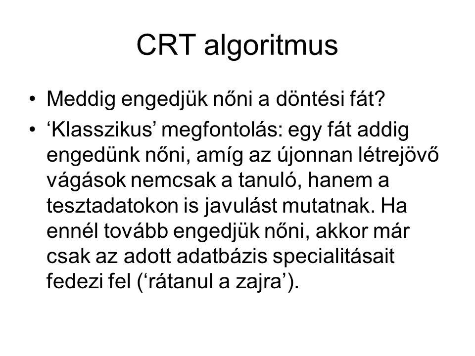 CRT algoritmus Meddig engedjük nőni a döntési fát