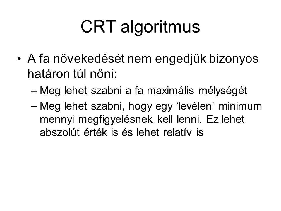 CRT algoritmus A fa növekedését nem engedjük bizonyos határon túl nőni: Meg lehet szabni a fa maximális mélységét.