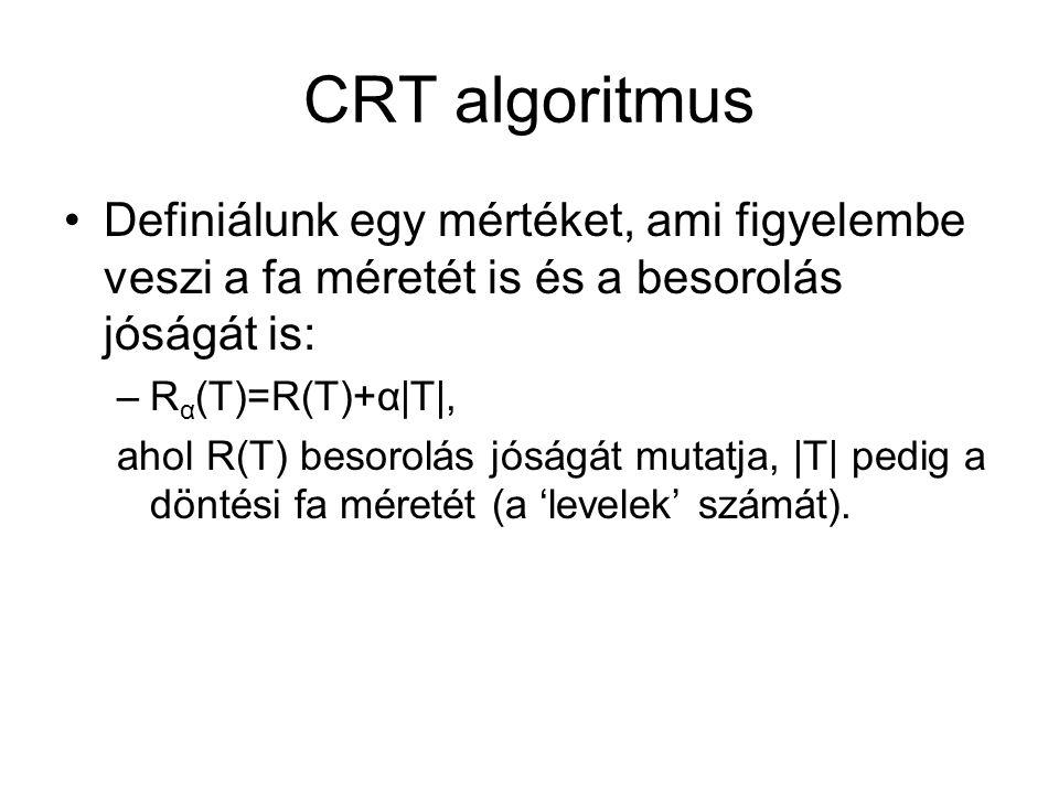 CRT algoritmus Definiálunk egy mértéket, ami figyelembe veszi a fa méretét is és a besorolás jóságát is: