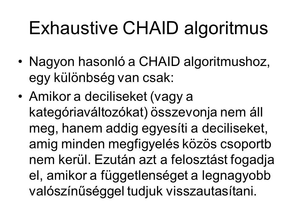 Exhaustive CHAID algoritmus