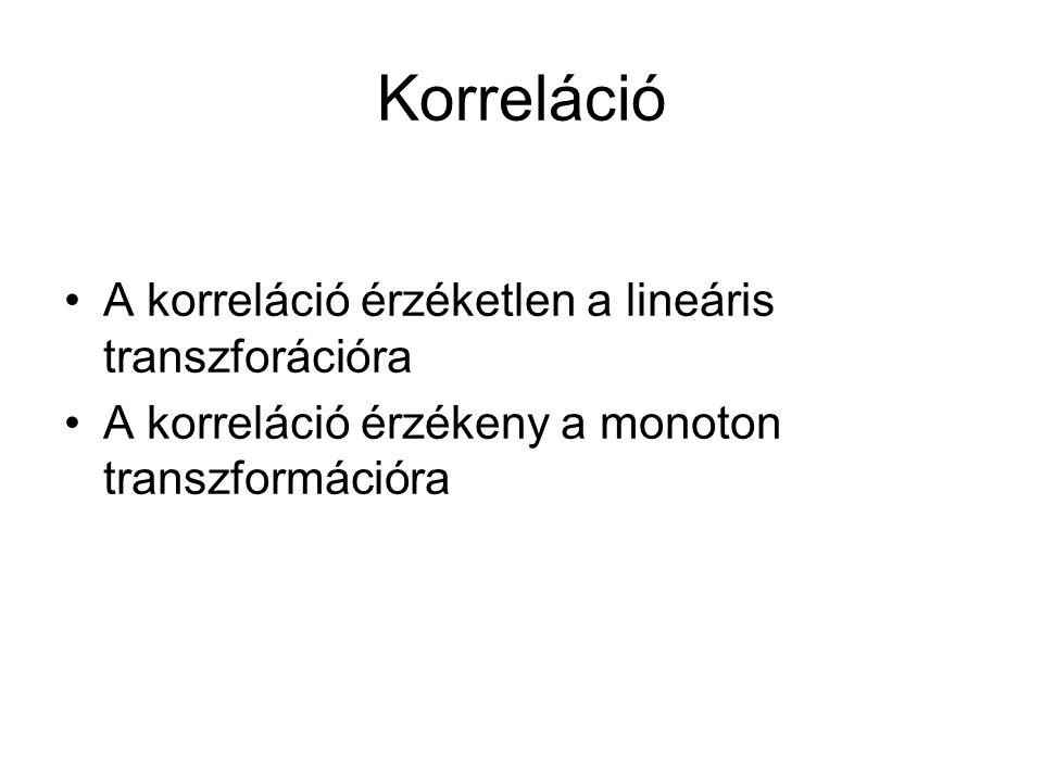 Korreláció A korreláció érzéketlen a lineáris transzforációra