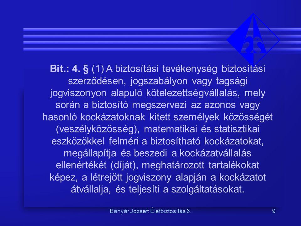 Banyár József: Életbiztosítás 6.