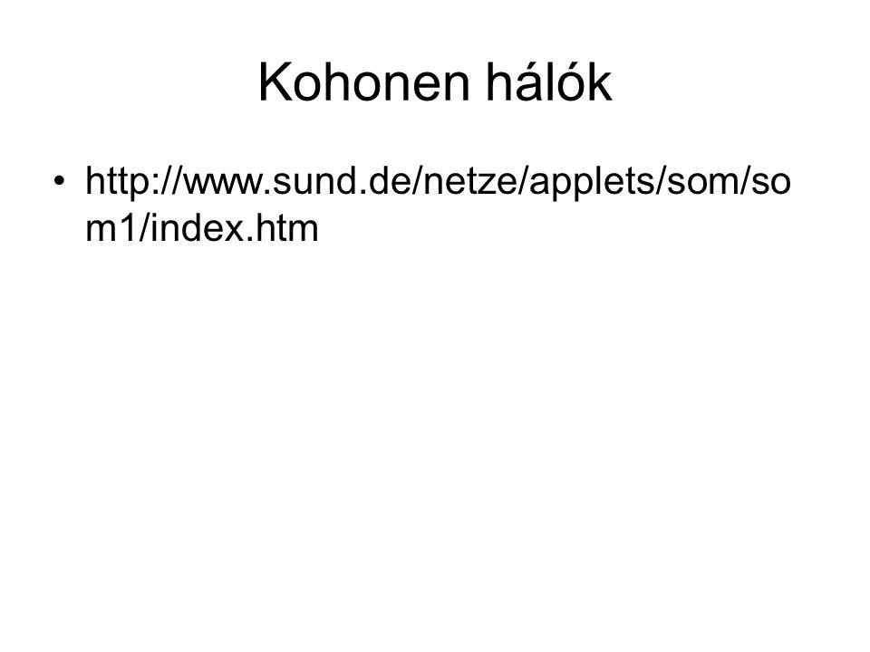 Kohonen hálók http://www.sund.de/netze/applets/som/som1/index.htm