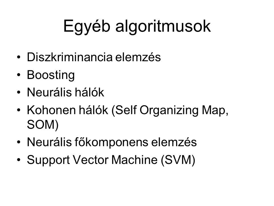 Egyéb algoritmusok Diszkriminancia elemzés Boosting Neurális hálók