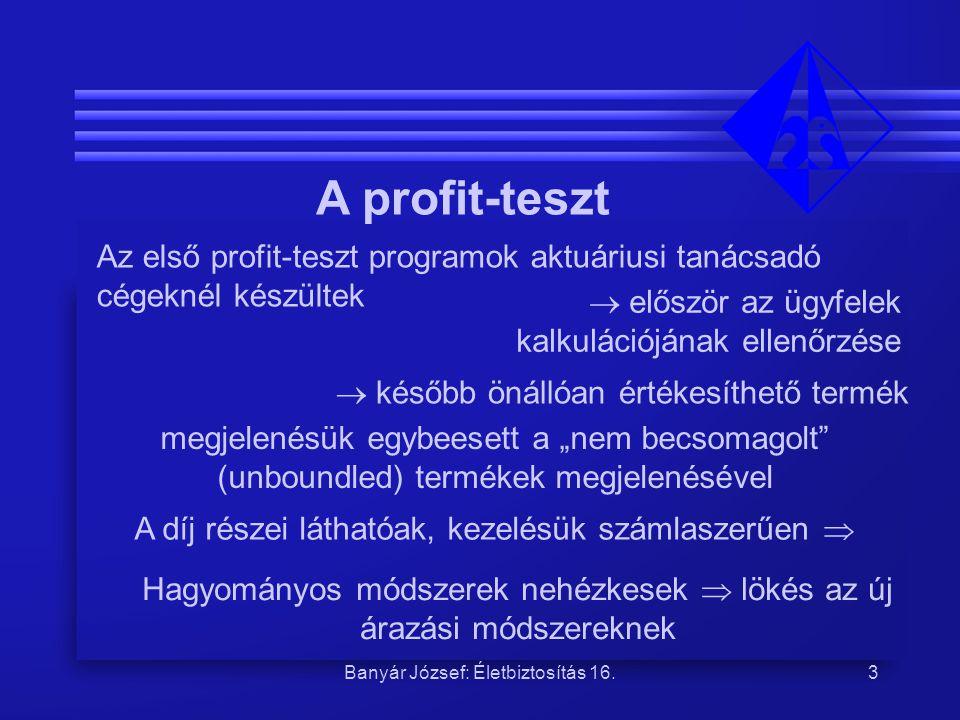 Banyár József A profit-teszt. Az első profit-teszt programok aktuáriusi tanácsadó cégeknél készültek.