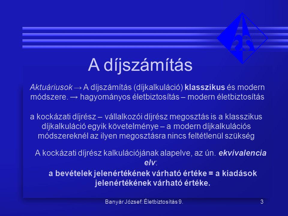 Banyár József A díjszámítás.